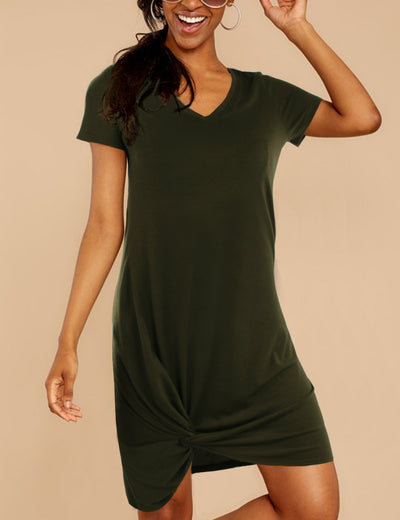 Solid Color Twist Hemline Mini Dress
