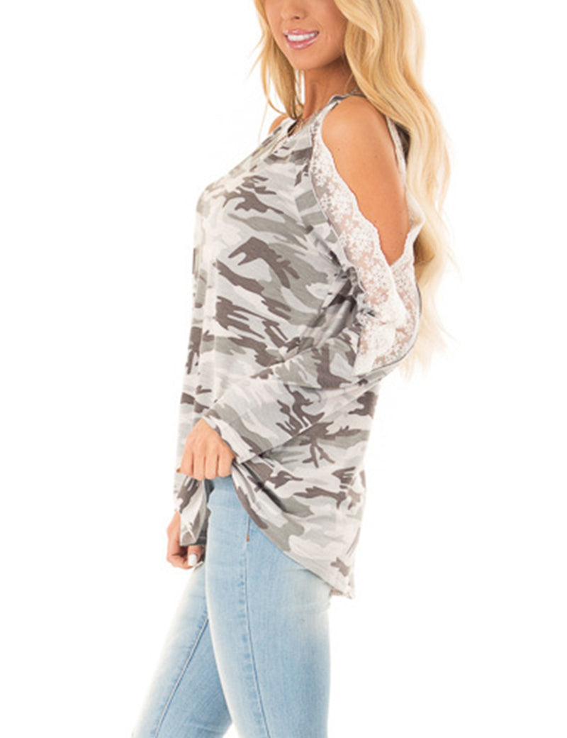 City Girl Lace Cold Shoulder Camo T-Shirt - Blooming Jelly