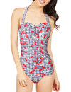 One Piece Retro 50s Halter Ruched Swimsuit