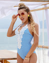 Blooming Jelly_Halter Lace Patchwork One Piece Swimsuit_Light Sky Blue Stripe_112137_03_Summer Vacay Halter Lace_Swimsuit One Piece
