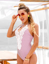 Halter Lace Patchwork One Piece Swimsuit - Blooming Jelly