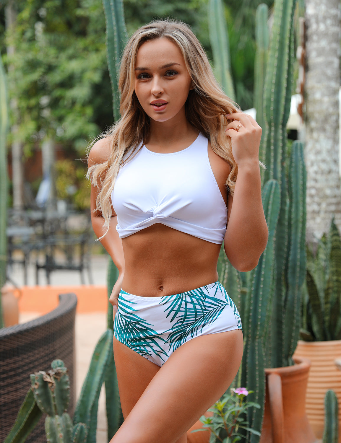 Fresh Leaves Print High Waist Racerback Bikini Set - Blooming Jelly