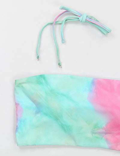 Tie Dye High Waist Bandeau Bikini Set - Blooming Jelly