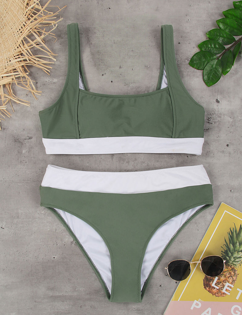 Color Block High Waisted Bikini Set