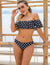 Blooming Jelly_Off The Shoulder Ruffle Bikini Set_Black Polka Dots_113005_02_Summer Off-shoulder Halter_Swimsuit Bikini Set