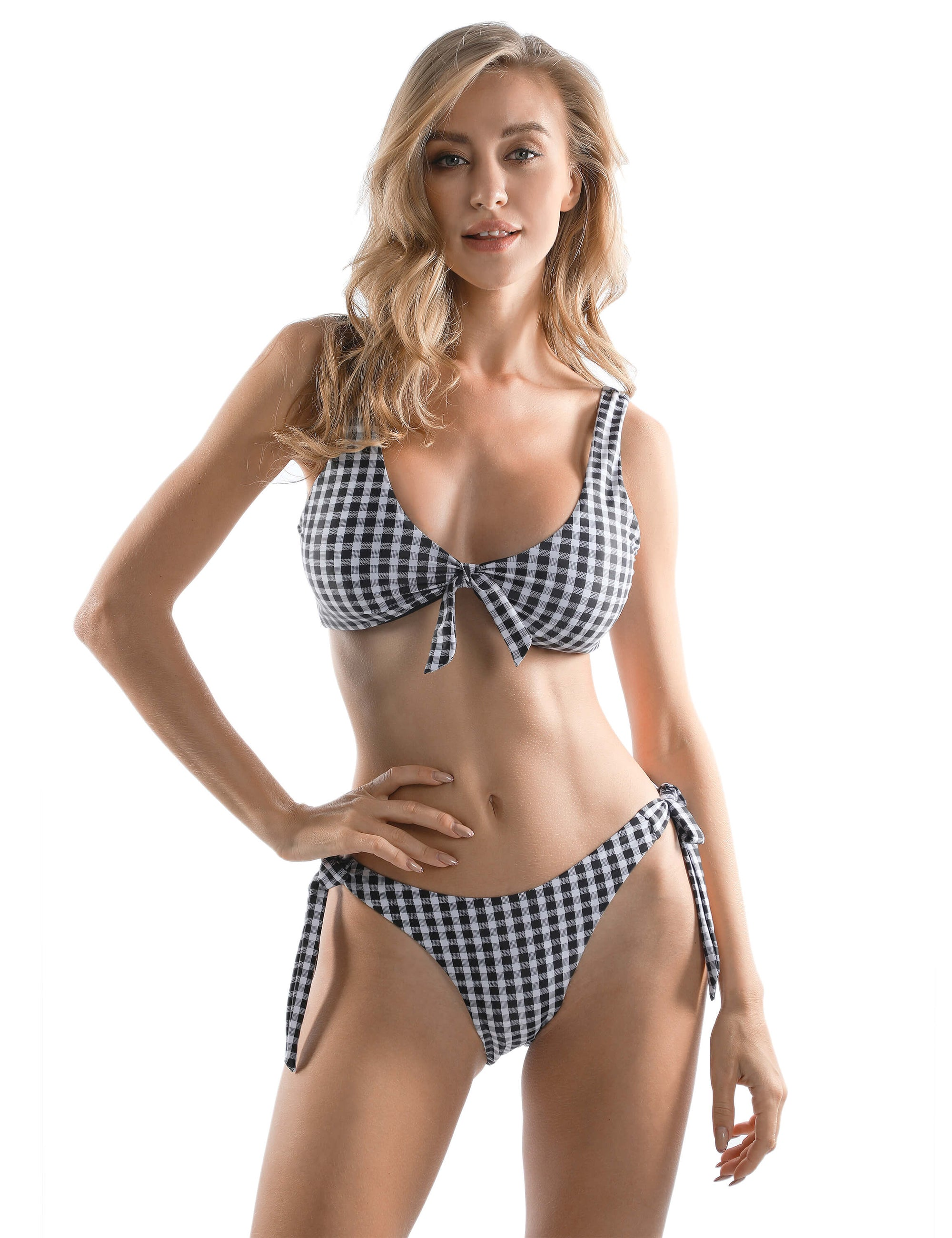 Blooming Jelly_You Look Gorgeous Bandeau Plaid Bikini Set_Black&White Plaid_113034_26_Women Sexy Beach Vacation Wear_Swimsuit_Bikini Set