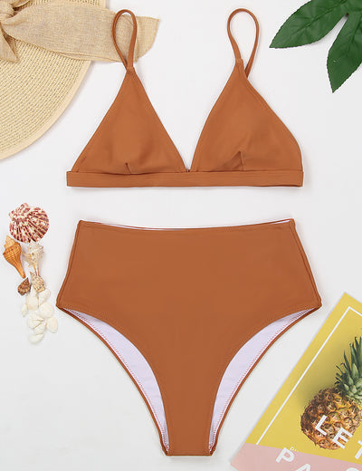 Enjoyable Day Triangle High Waist Bikini Set