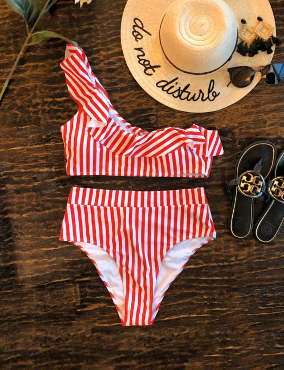One Shoulder Ruffled Stripe Bikini Set - Blooming Jelly