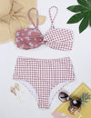 Blooming Jelly_Gingham Plaid with Floral Twist Bikini Set_Floral&Gingham Patchwork_113109_26_Stylish Women High Waist Bathing Suit_Swimsuit_Bikini Set