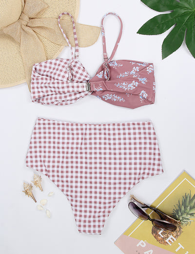Gingham Plaid with Floral Twist Bikini Set