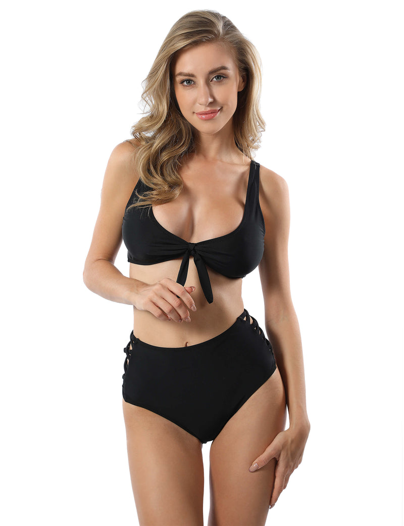 Knot Front Side High Waist Cut Out Bikini Set - Blooming Jelly