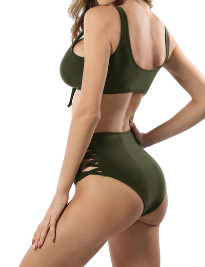 Knot Front Side High Waist Cut Out Bikini Set