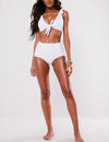 Solid Color Ruffled High Waist Bikini Set - Blooming Jelly