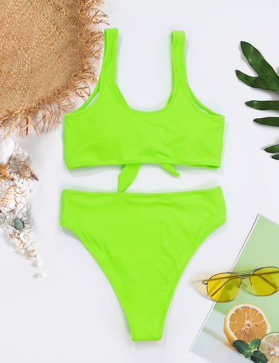 Bright Your Life Bow Tie Racerback Bikini Set - Blooming Jelly