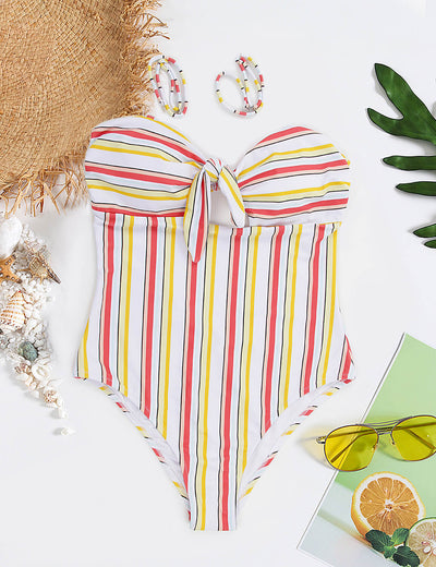Catch the Rainbow Stripe Bow Tie One Piece - Blooming Jelly
