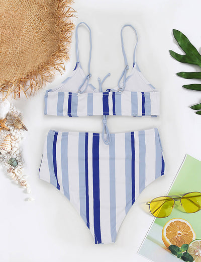 Blooming Jelly_Adorable Blue Color Block High Waisted Bikini_Blue Stripe_114195_25_Women Vacation Outfits_Swimsuit_Bikini Set