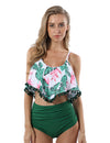 Beauty Blooming Flounced High Waist Tankini Set - Blooming Jelly