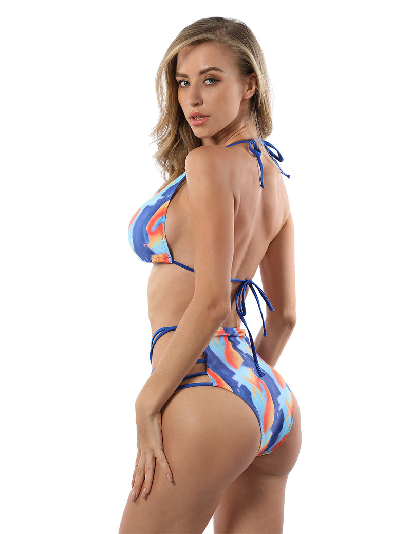 Halter Triangle Lace Up Tie Dye Bikini Set - Blooming Jelly
