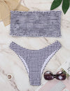 Retro Smocked Gingham Plaid Bandeau Bikini Set - Blooming Jelly