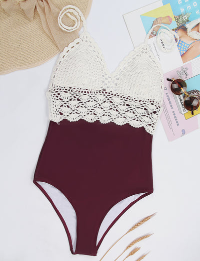Halter Crochet Patchwork One Piece Swimsuit - Blooming Jelly