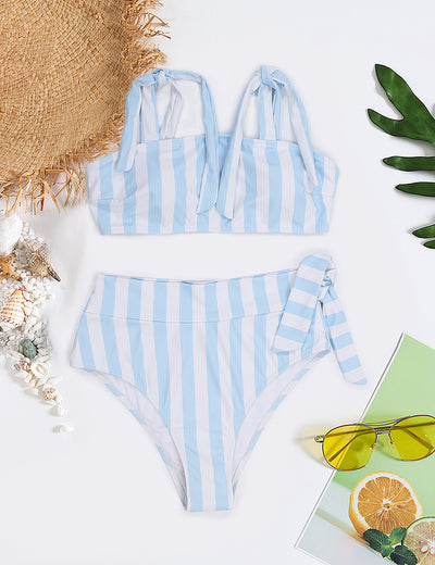 Sandy Mermaid Bandeau High Waist Stripe Bikini Set - Blooming Jelly
