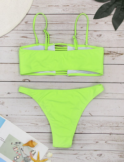 Bright Color Cut Out Bandeau Bikini Set - Blooming Jelly