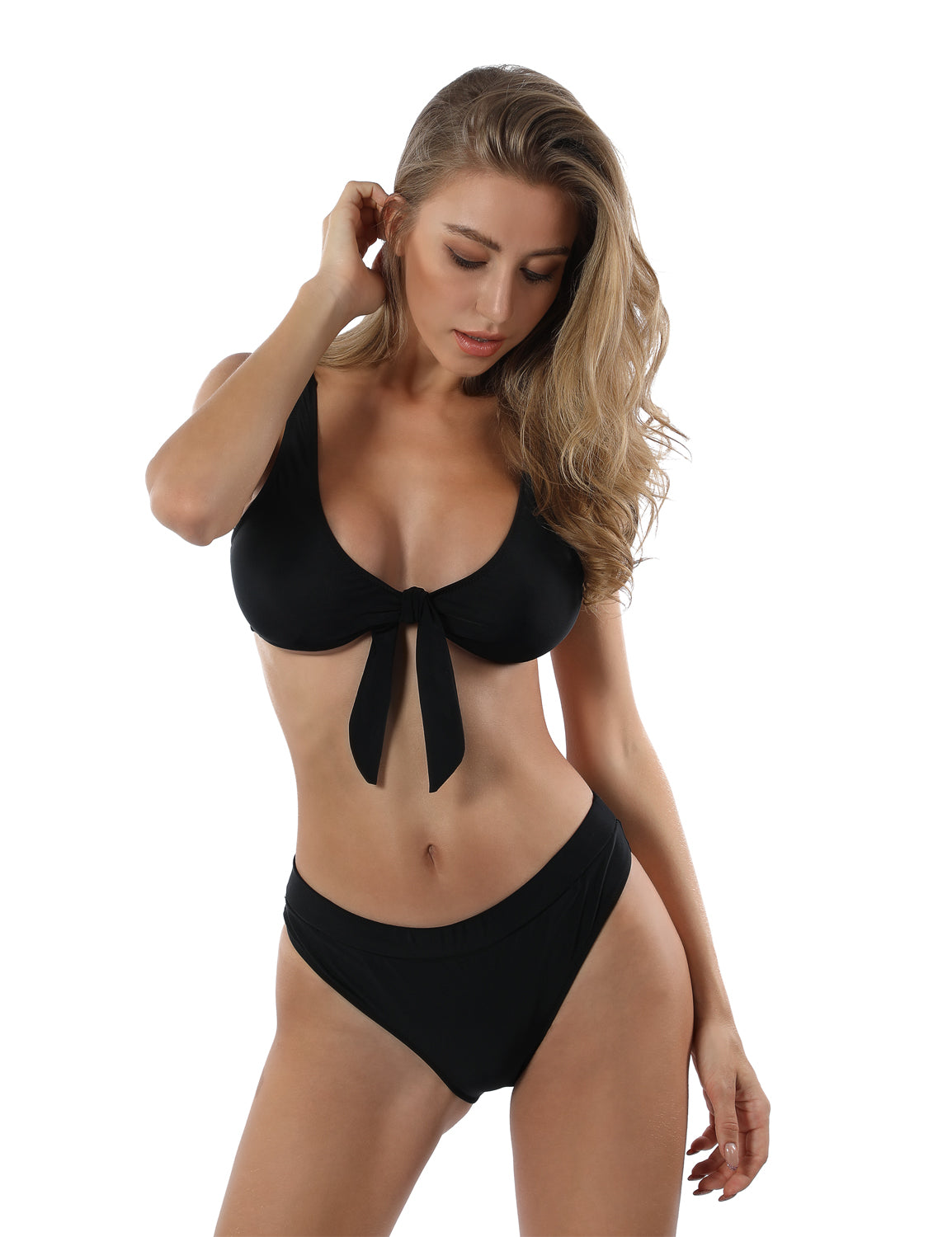 Tie Front Racerback High Waist Bikini Set - Blooming Jelly