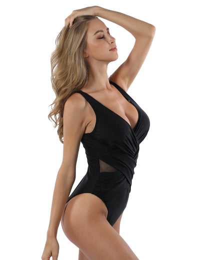 Blooming Jelly_Ruffled V Neck Mesh One Piece Swimsuit_Pure Black_117005_02_Old Fashion Women Bathing Suit_Swimsuit_Bikini Set