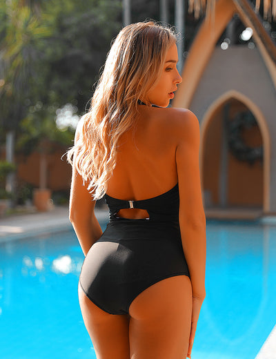 Black Swan Stripe Halter One Piece Swimsuit - Blooming Jelly