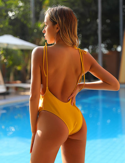 Yellow Blooms Pom Pom Backless One Piece - Blooming Jelly