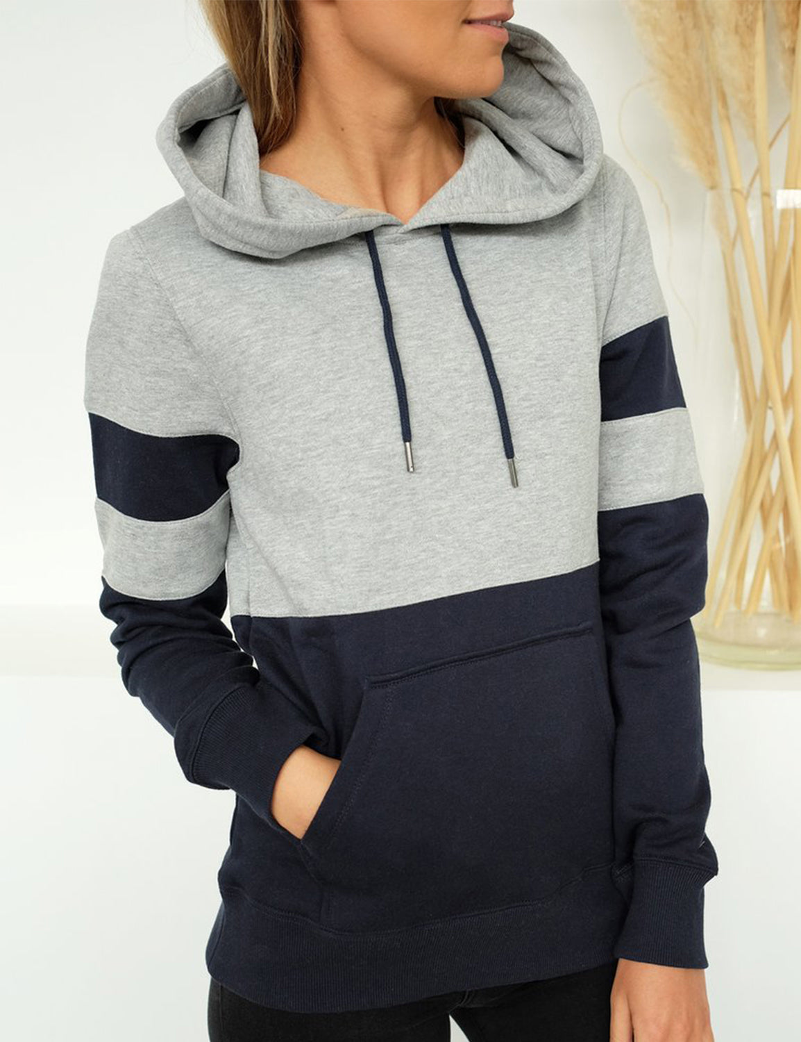 Blooming Jelly_Front Pocket Contrast Color Drawstring Hoodie_Navy Patchwork_302013_30_Autumn&Winter Outdoor Casual_Tops_Hoodie