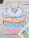 Gradient Tie Dye Print Cut Out Bikini Set - Blooming Jelly