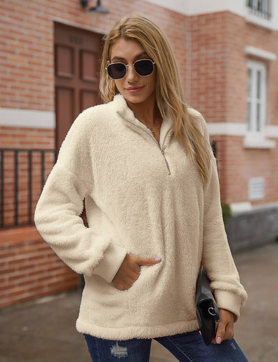 Blooming Jelly_Warm Half Zip Fuzzy Sweatshirt_Wheat_136003_19_Women Chunky Outfits_Tops_Sweatshirt
