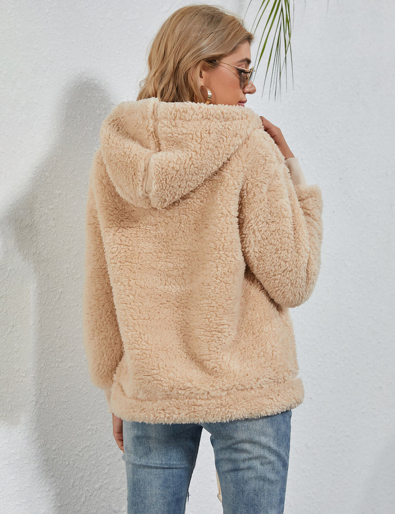 Blooming Jelly_Fuzzy Zip Up Fleece Pullover Hoodie_Wheat_136014_12_Women Warm Autumn Outfits_Tops_Hoodie