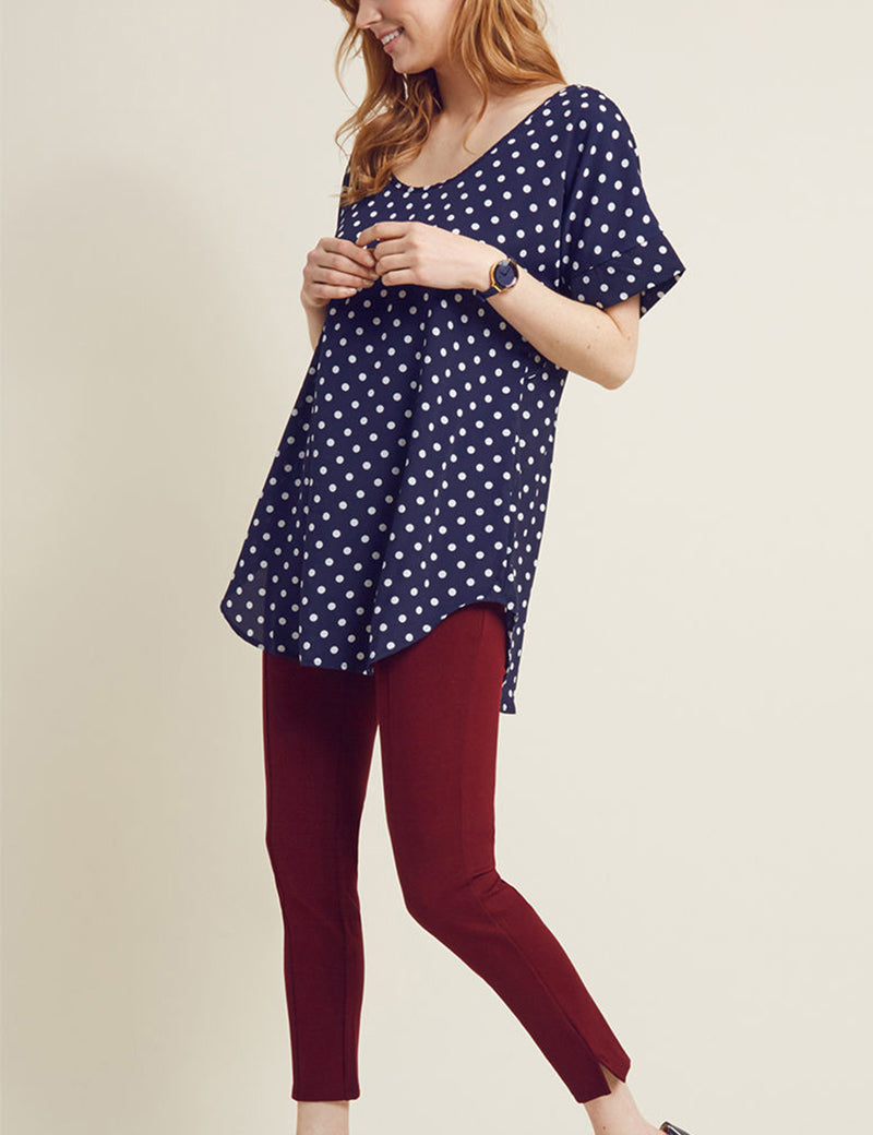 Retro Polka Dots Round Neck Blouse with Belt - Blooming Jelly