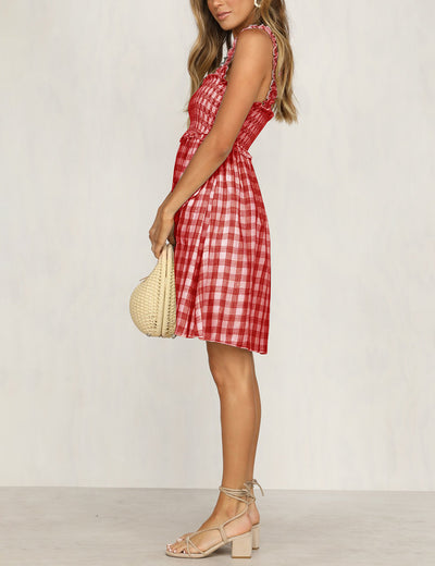 Checkerboard Plaid Skinny Cami Dress