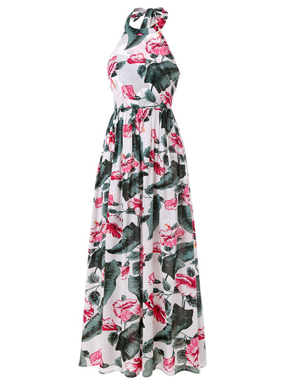 Criss Cross Backless Floral Maxi Dress