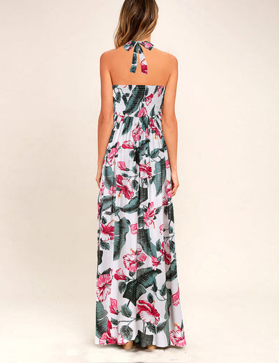 Criss Cross Backless Floral Maxi Dress - Blooming Jelly