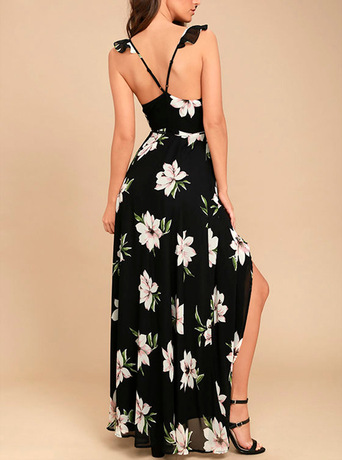 Halter Backless Flowy Summer Maxi Dress - Blooming Jelly