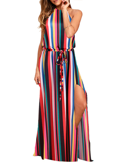 Halter Backless Drawstring Summer Maxi Dress - Blooming Jelly