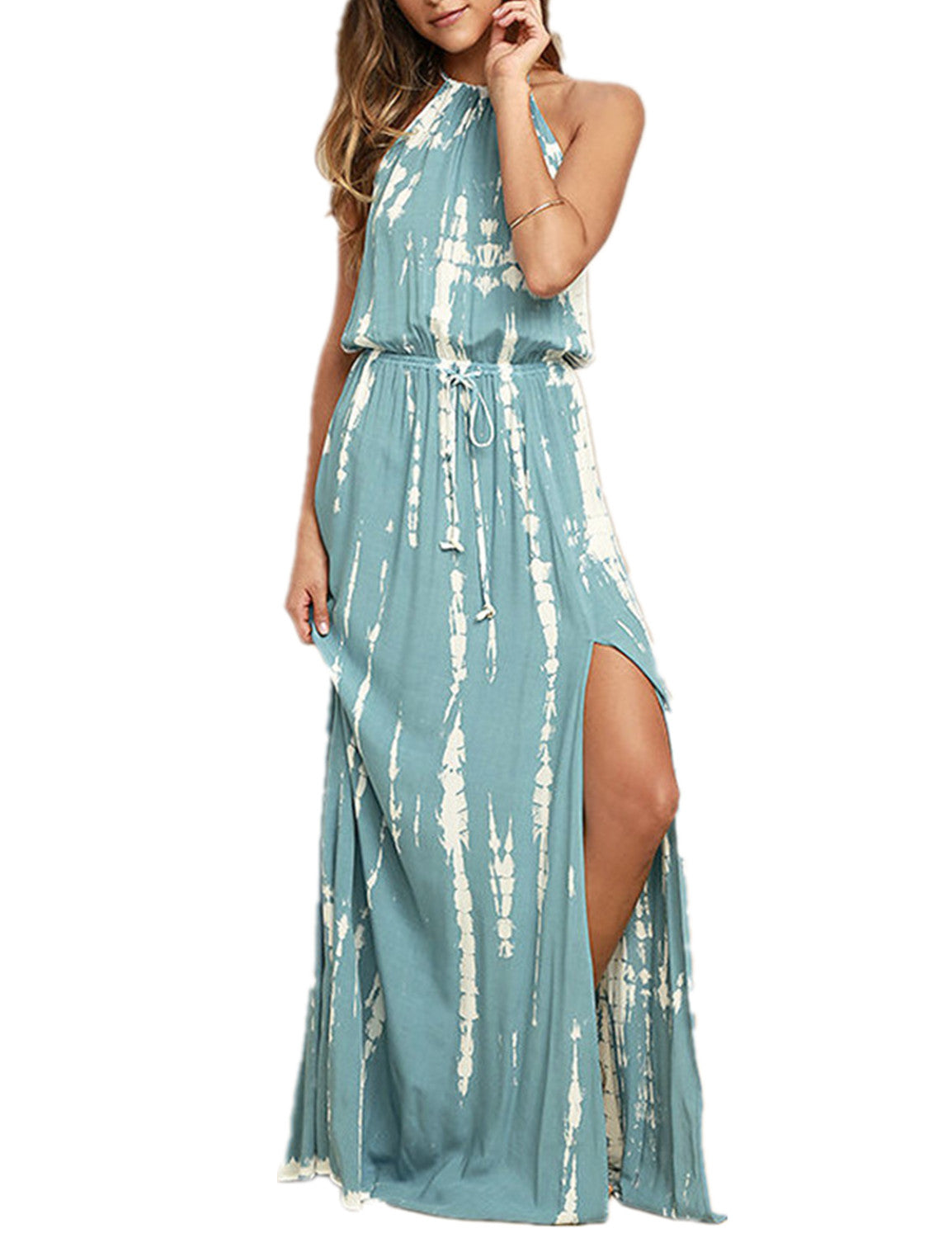 Halter Backless Drawstring Summer Maxi Dress