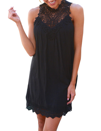 Halter Crochet Lace Hollow Out Mini Dress - Blooming Jelly