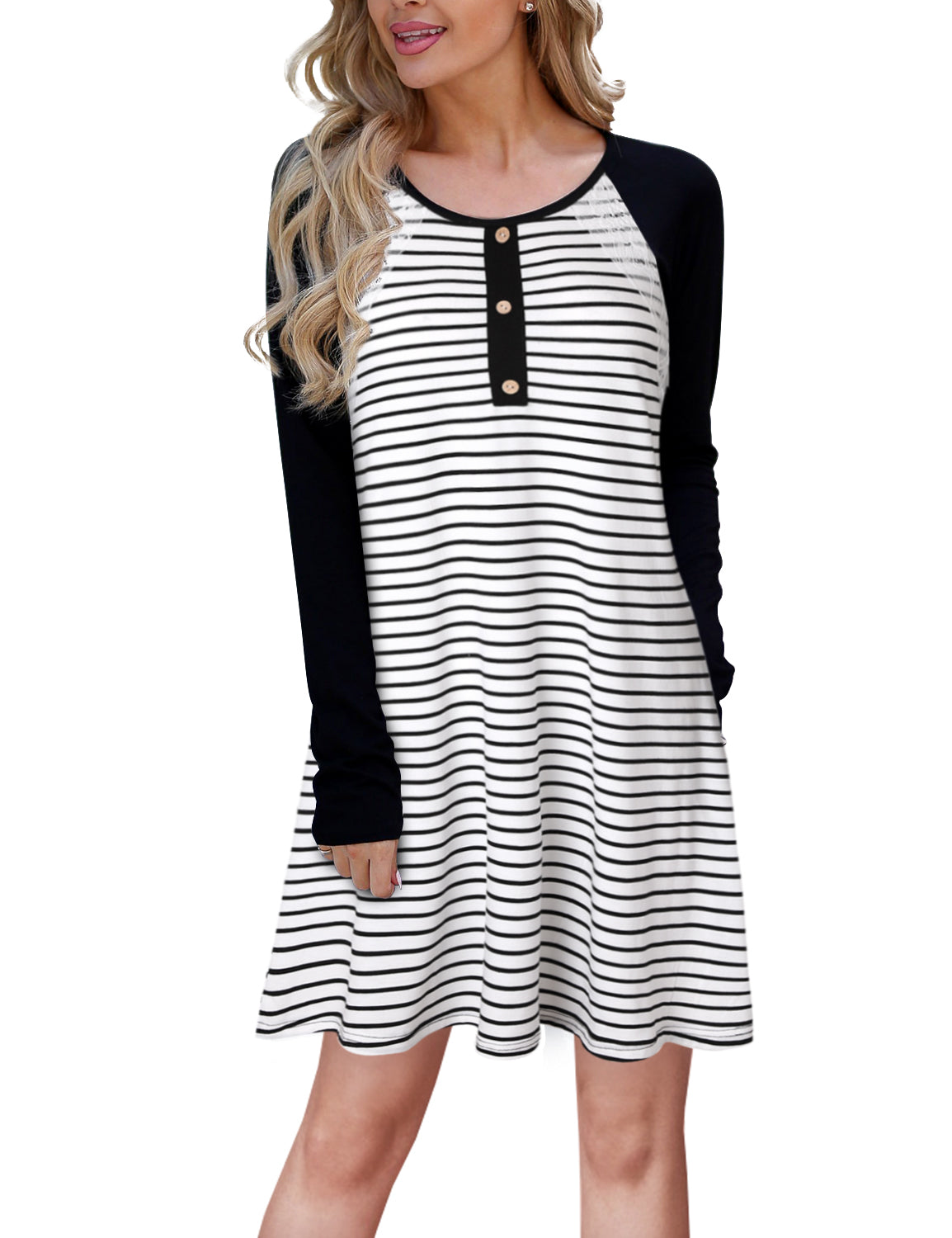 Vintage Lace Striped Contrast Swing Dress - Blooming Jelly