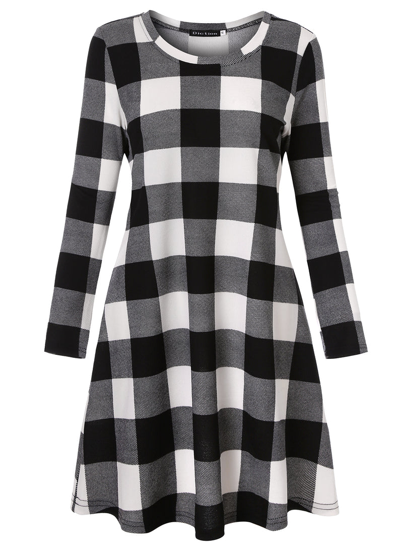 Plaid Scoop Neck Long Sleeve Swing Mini Dress