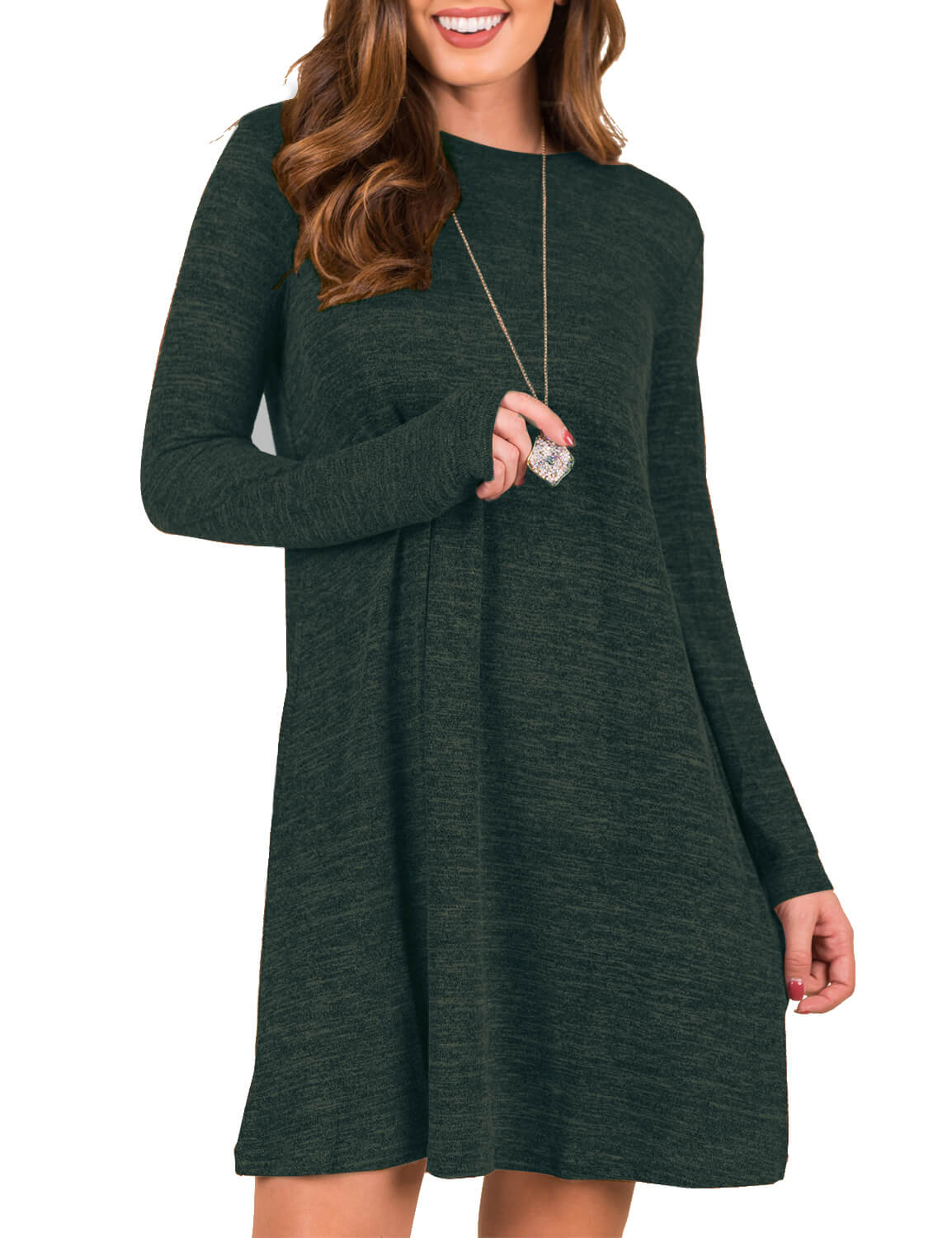 Blooming Jelly_Trendy Long Sleeves Loose Sweater Dress_Dark Olive Green_142399_53_Autumn&Winter Fashion Casual_Dress_Mini Dress