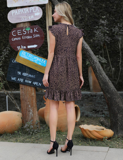 New Trend Casual Leopard Print Smock Dress - Blooming Jelly