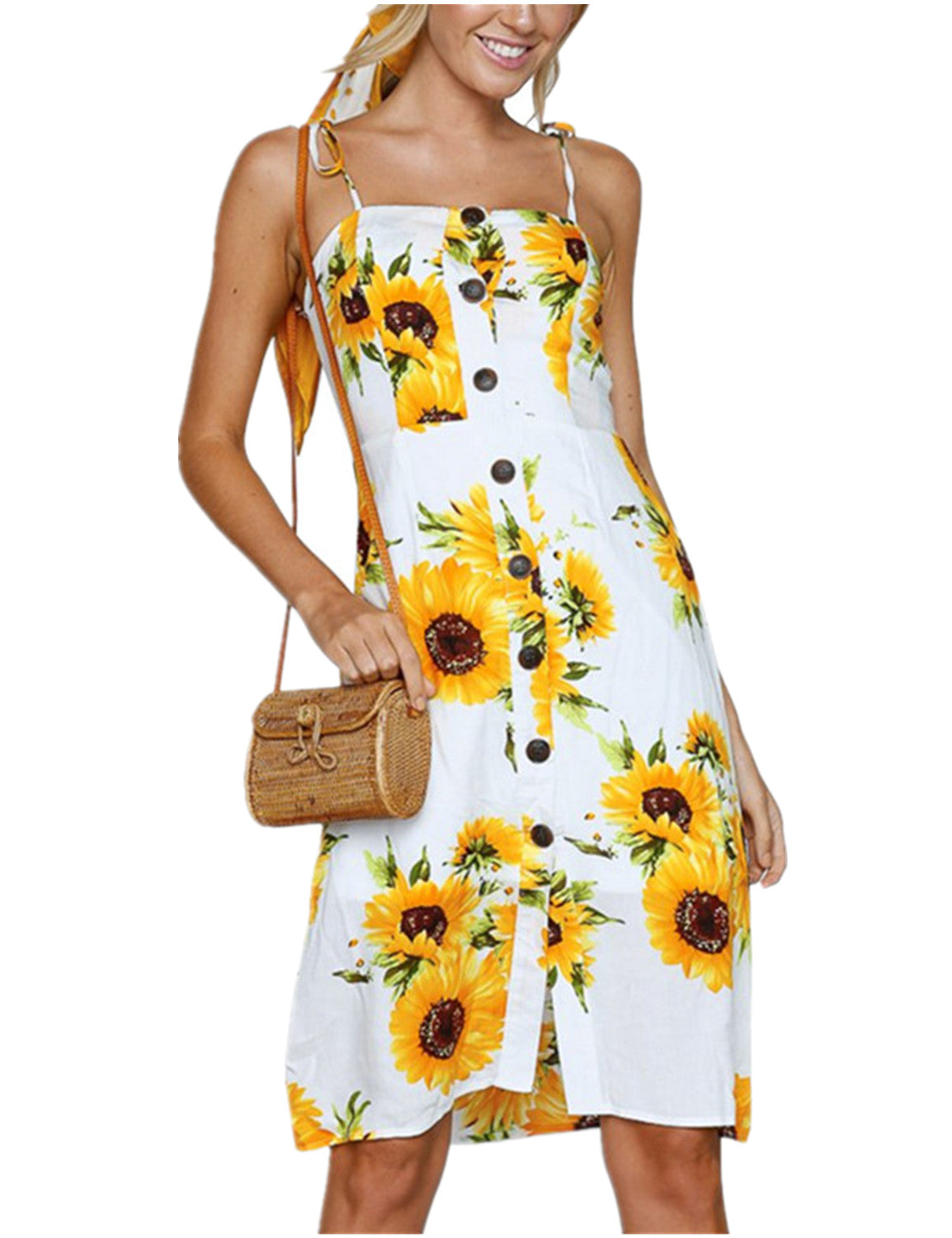 Sunflower Print Button Down Midi Sundress