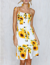 Sunflower Print Button Down Midi Sundress - Blooming Jelly