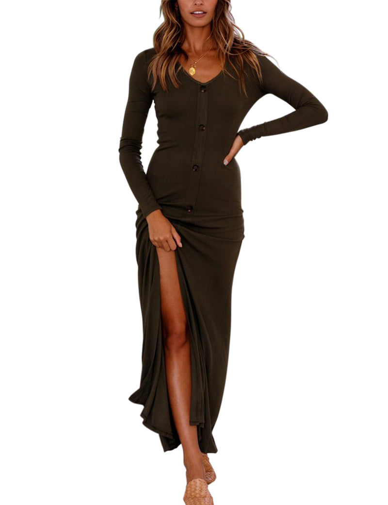 V Neck Long Sleeve Button Front High Split Maxi Dresses