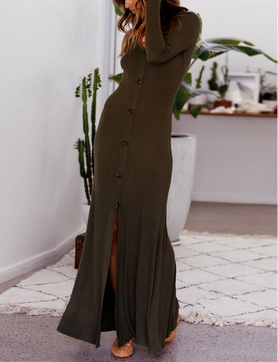 V Neck Long Sleeve Button Front High Split Maxi Dresses - Blooming Jelly
